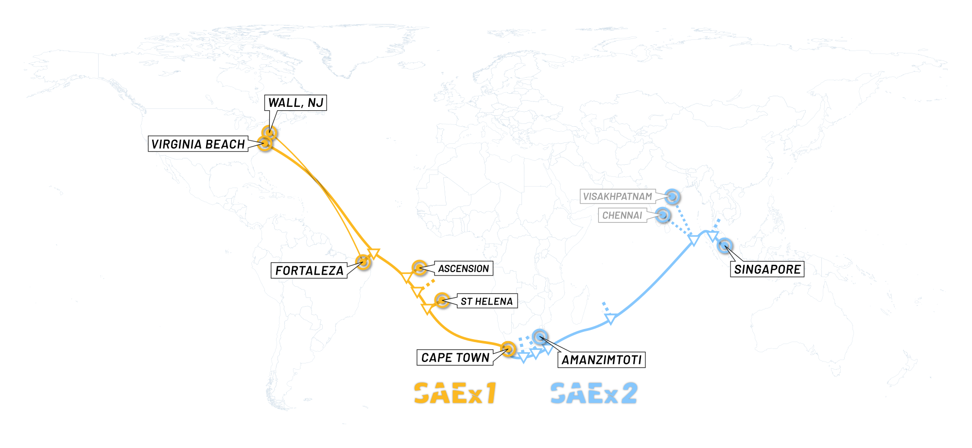 Map of South Atlantic Express Cable (SAEx1) and South Asia Express Cable (SAEx2)